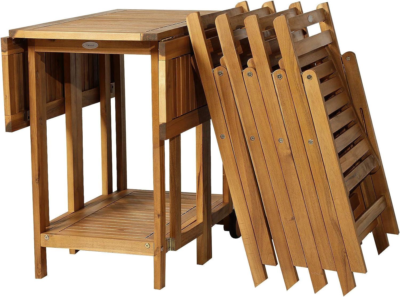 Outsunny Juego de Comedor Plegable 5 Piezas Conjunto de Mesa y 4 Sillas de Comedor Madera de Acacia para Exterior Jardín Terraza Patio: Amazon.es: Jardín