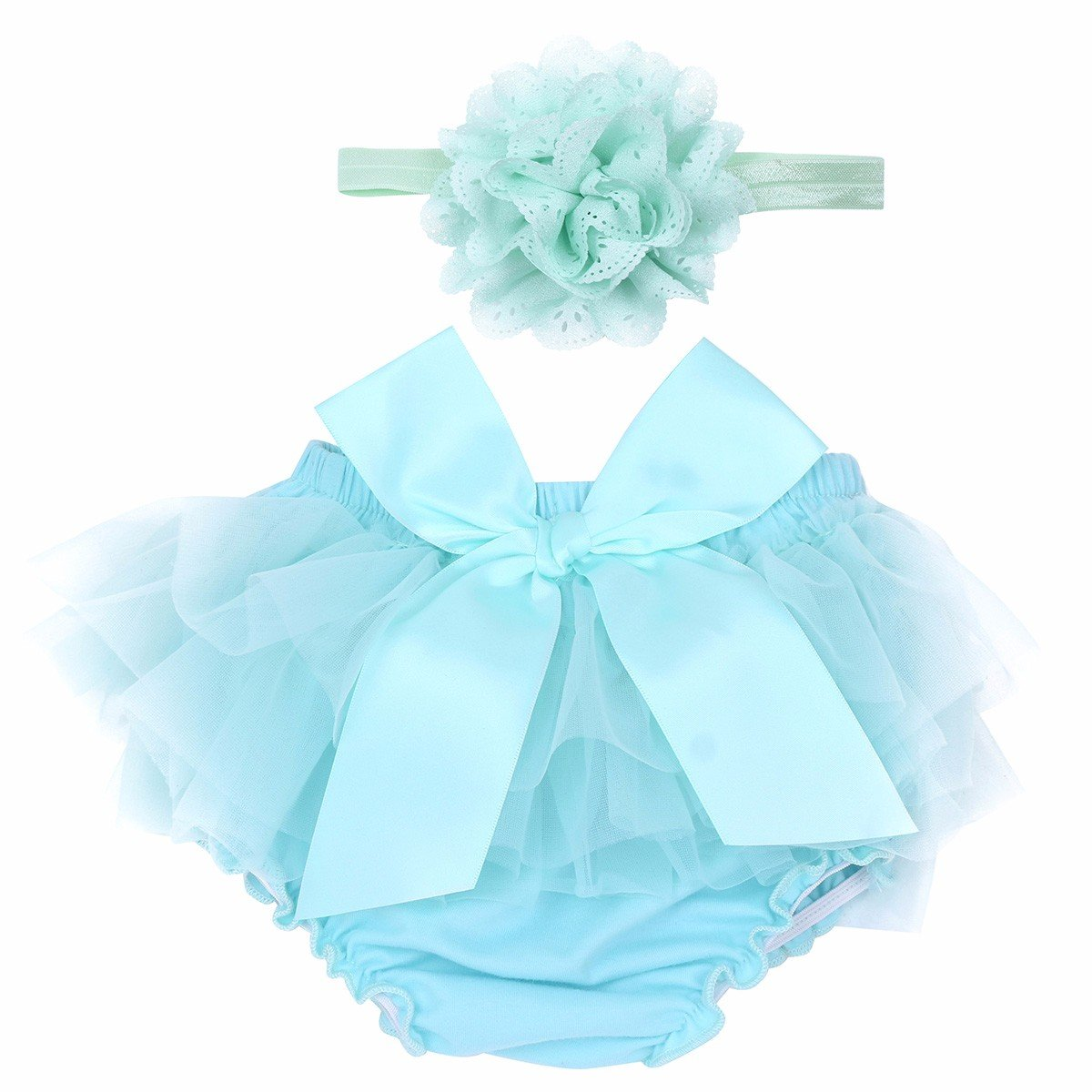 FEESHOW Infant Baby Girls Bow-Knot Tulle Ruffle Bloomers Shorts Diaper Cover with Flower Headband Set Photography Outfit