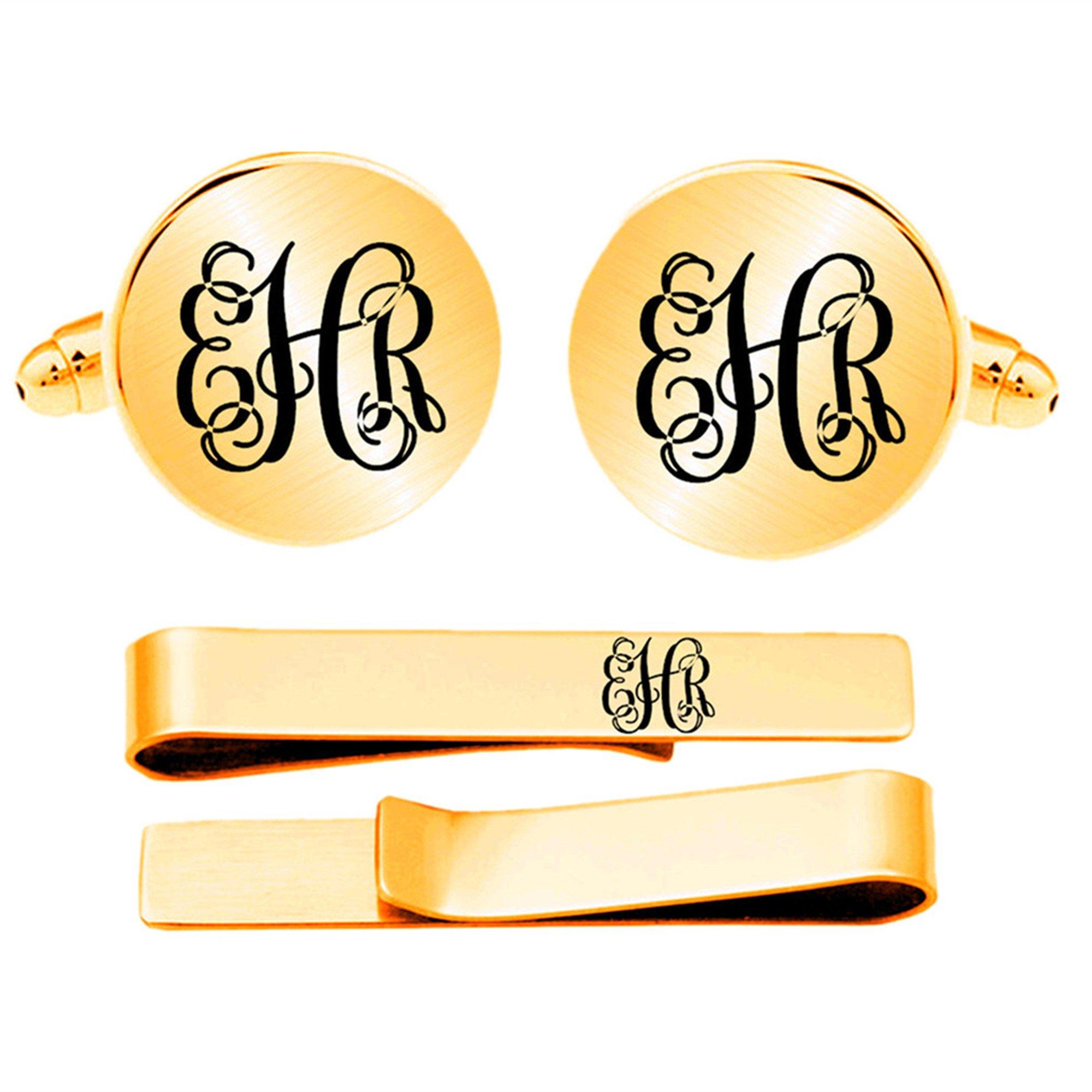 Kooer Custom Personalized Monogram Engraved Cuff Links Handmade Engrave Wedding Initials Cufflinks Jewelry (Gold plated round cufflinks tie clip set)