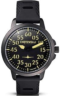 Chotovelli – Reloj piloto para hombre - analógica - correa caucho negro 33,2