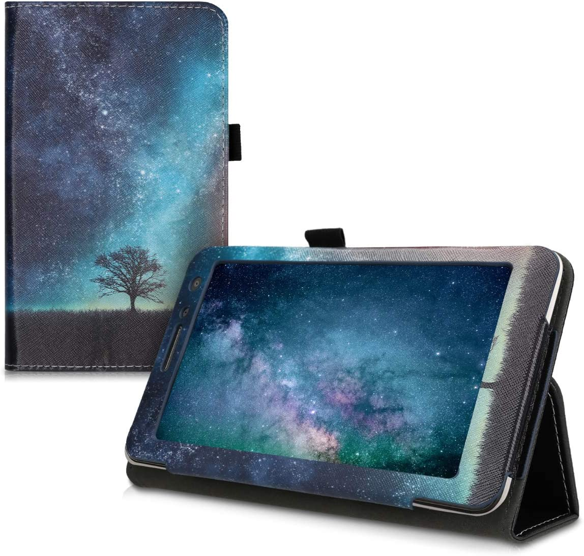 kwmobile Case Compatible with Huawei MediaPad T1 7.0 - Slim PU Leather Tablet Cover with Stand Feature - Cosmic Nature Blue/Grey/Black