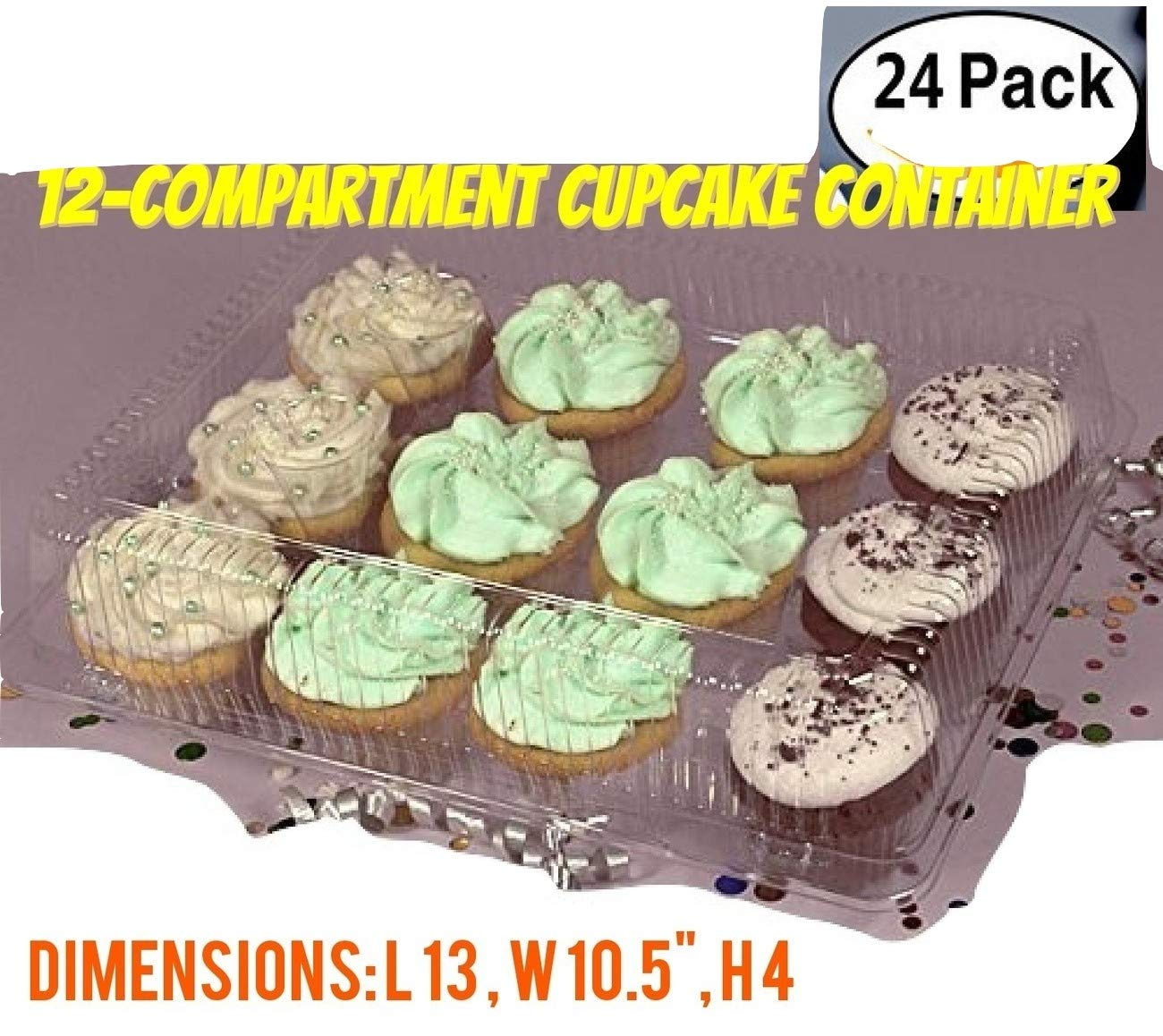 The Bakers Pantry Cupcake Boxes- Cupcake Containers 24 Pack Cupcake, Cupcake Box Container Holds 12 Cupcakes (24, 12-Compartment) by The Bakers Pantry (Image #1)