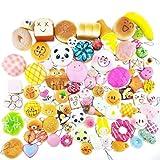 Welecom 30 Pcs Soft Squishy Toys,Cute Phone Charms,Kawaii Bag Pendants,Stress Toys(Panda/Cake/Bread/Buns)
