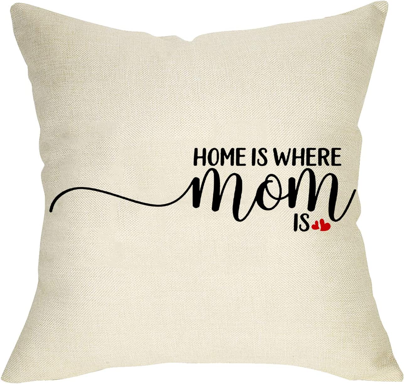 Softxpp Home is Where Mom is Throw Pillow Cover, Rustic Farmhouse Decorative Cushion Case Quote for Mother's Day Birthday Gift, Holiday Home Decoration Square Pillowcase Decor 18 x 18 Cotton Linen