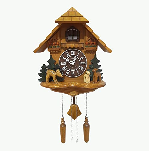Polaris Clocks Large Cuckoo Clock with Night Option, Quartz Movement and Hand Carved Decorations in Black Forest Style Deers