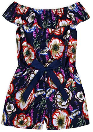 JollyRascals Girls Floral Playsuit Kids New Summer Party Off Shoulder Jumpsuit Holiday Outfit Blue Pink Navy Age 2 3 4 5 6 7 8 9 10 11 12 13 14 Years