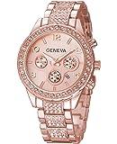Geneva Platinum Analog Rose Gold Dial Women's Watch-GP-223