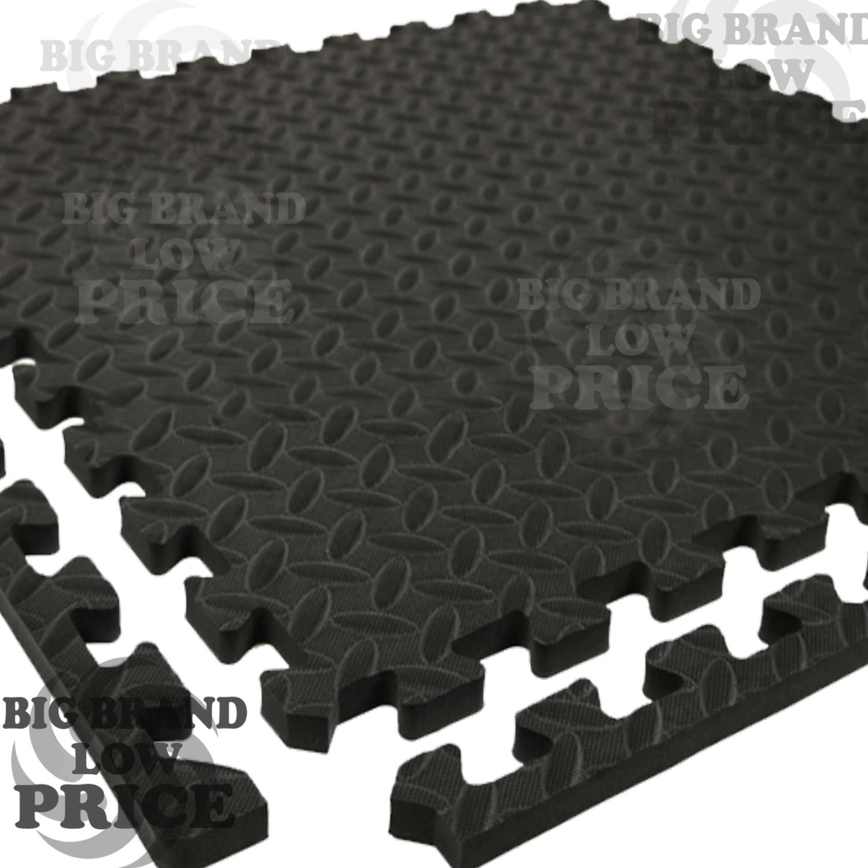 FB FUNKYBUYS/® Black Soft LEAF//OLIVE EVA Foam Interlocking 60x60cm Office Environmental Sports 1.2cm Thick 12 Tiles pack Mat Kitchen Floor Animal Friendly Reversible with Edges GYM 48sqft