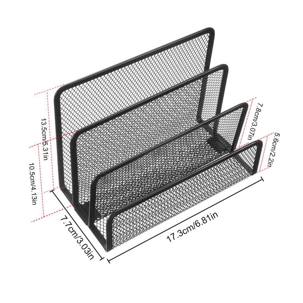 3 Vertical Upright Compartments Desk Mail Organizer Metal Desk File Sorter Mesh Desktop Vertical File Holder for Document//Filing// Folders//Paper Black