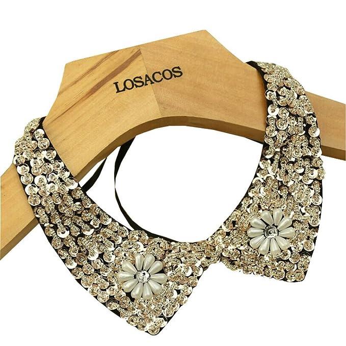 Joyci Sexy Fashion Necklace Chain Detachable False Collar (Sequin B Black)
