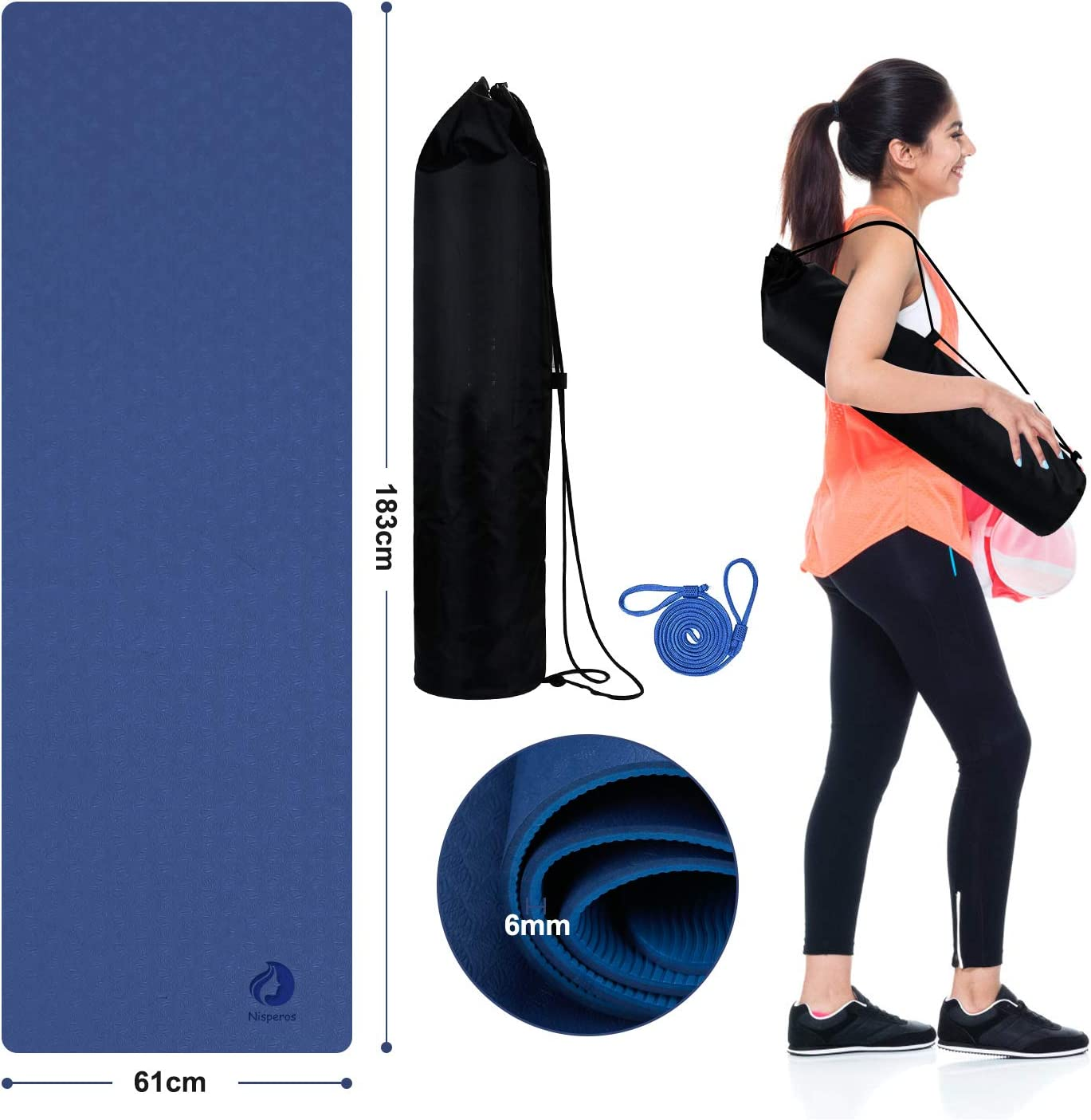 impermeable Esterilla de yoga de doble capa TPE Nisperos con bolsa de transporte y correa 183 x 61 x 0,6 cm antideslizante