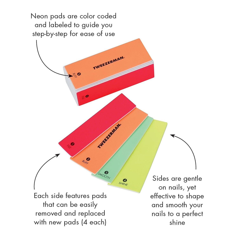 amazon com : tweezerman neon hot 4-in-1 file, buff, smooth & shine block  model no  3491-r : beauty