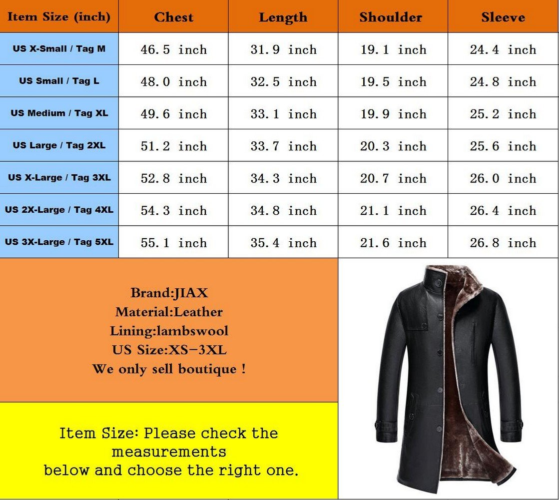 JIAX Mens Classic Winter Warm Sheep Skin Leather Coat Parka Lamb Wool Lined Jacket (US 3X-Large, US/1807 Black) by JIAX (Image #7)
