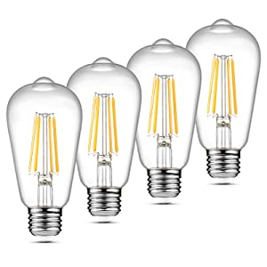Ascher Vintage LED Edison Bulbs, 6W, Equivalent 60W, Bright Warm White 2700K, ST58 Antique LED Filament Bulbs, E26 Medium Base, Non Dimmable, Clear Glass, Pack of 4