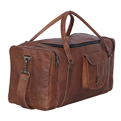 Komal's passion Leather 24 inch U Zip Duffel holdall Travel sports Overnight Weekend Leather Bag for gym Sports Cabin