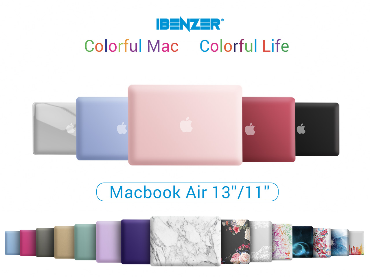 IBENZER MacBook Air 11 Inch Case Model A1370 A1465, Soft Touch Plastic Hard Shell Case Bundle with Keyboard Cover for Apple Laptop Mac Air 11, Rose Gold, A11MPK+1A
