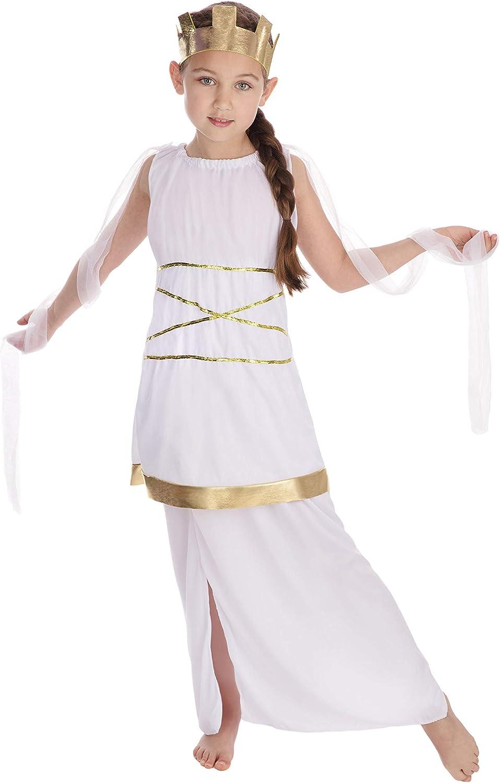 Disfraz de la Diosa Griega Atenea para Niñas, Blanco, M (122 cm ...