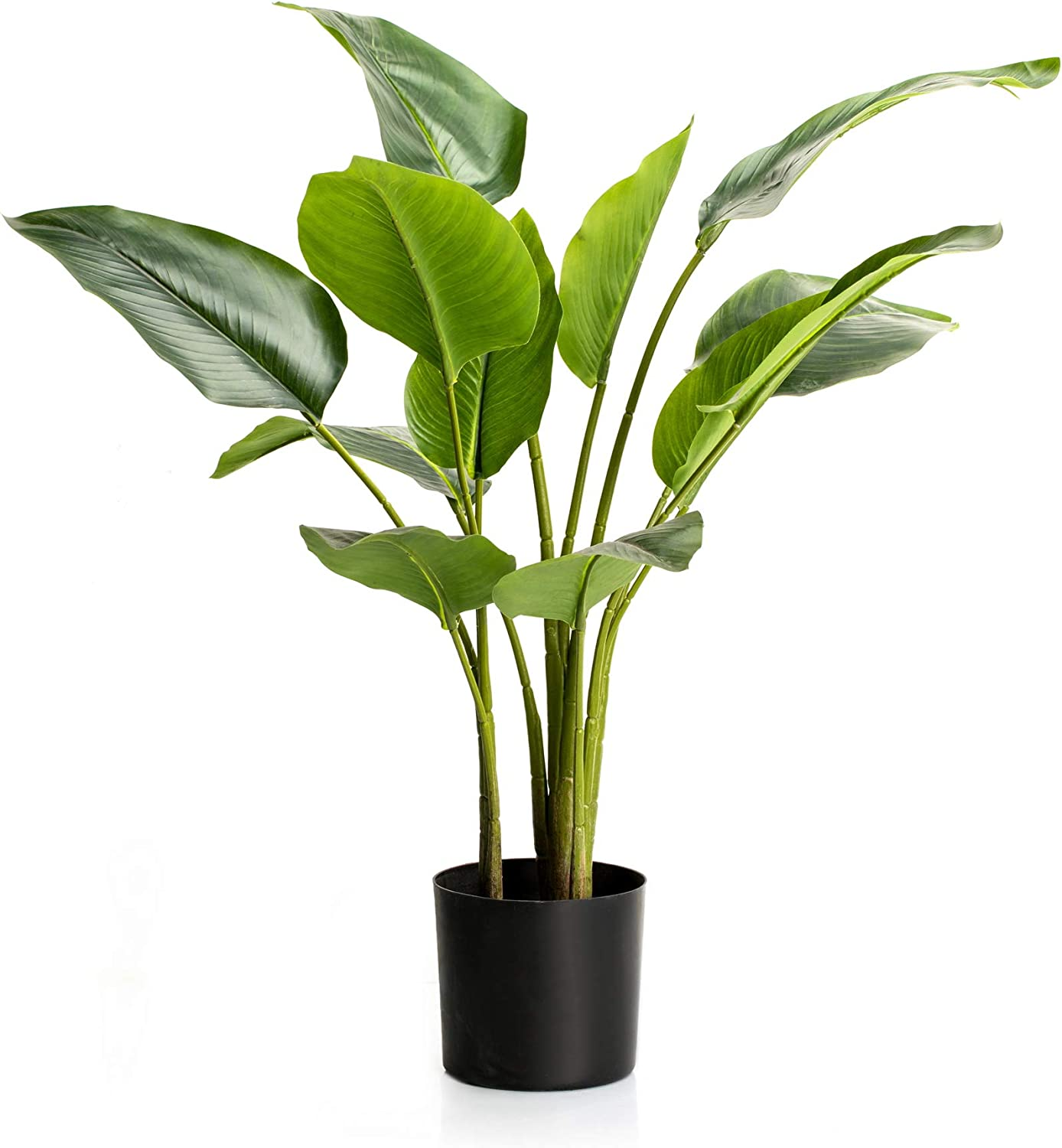 Velener 2.6' Artificial Potted Bird of Paradise Palm Tree Floor Plant for Home Décor