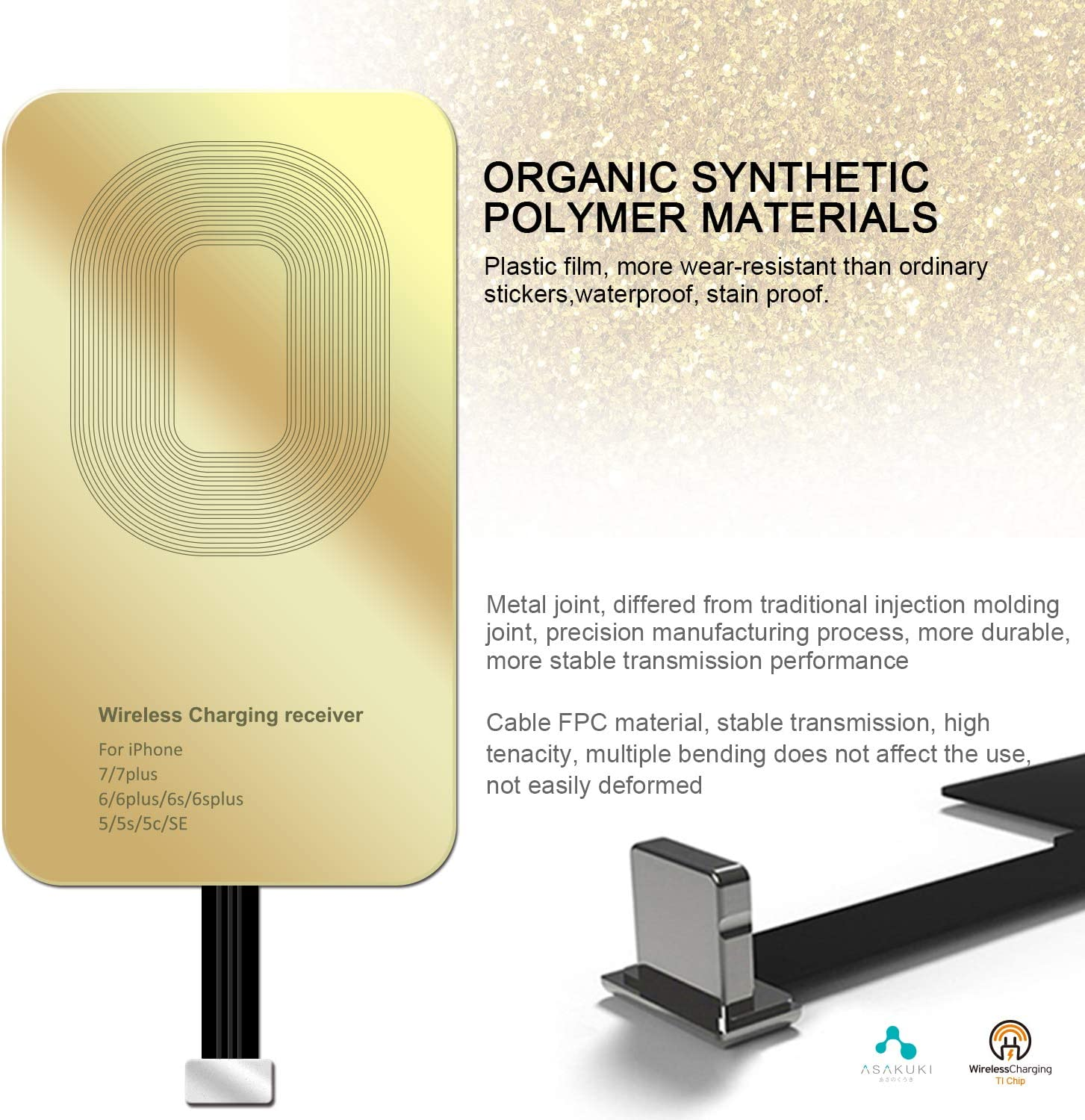 Fast/&Smart Microchip Technology SAKUKI Wireless Charging Receiver Ultra-Thin Copper Coil Patch with Overvoltage Protection for QI Wireless Charging Adapter Receiver