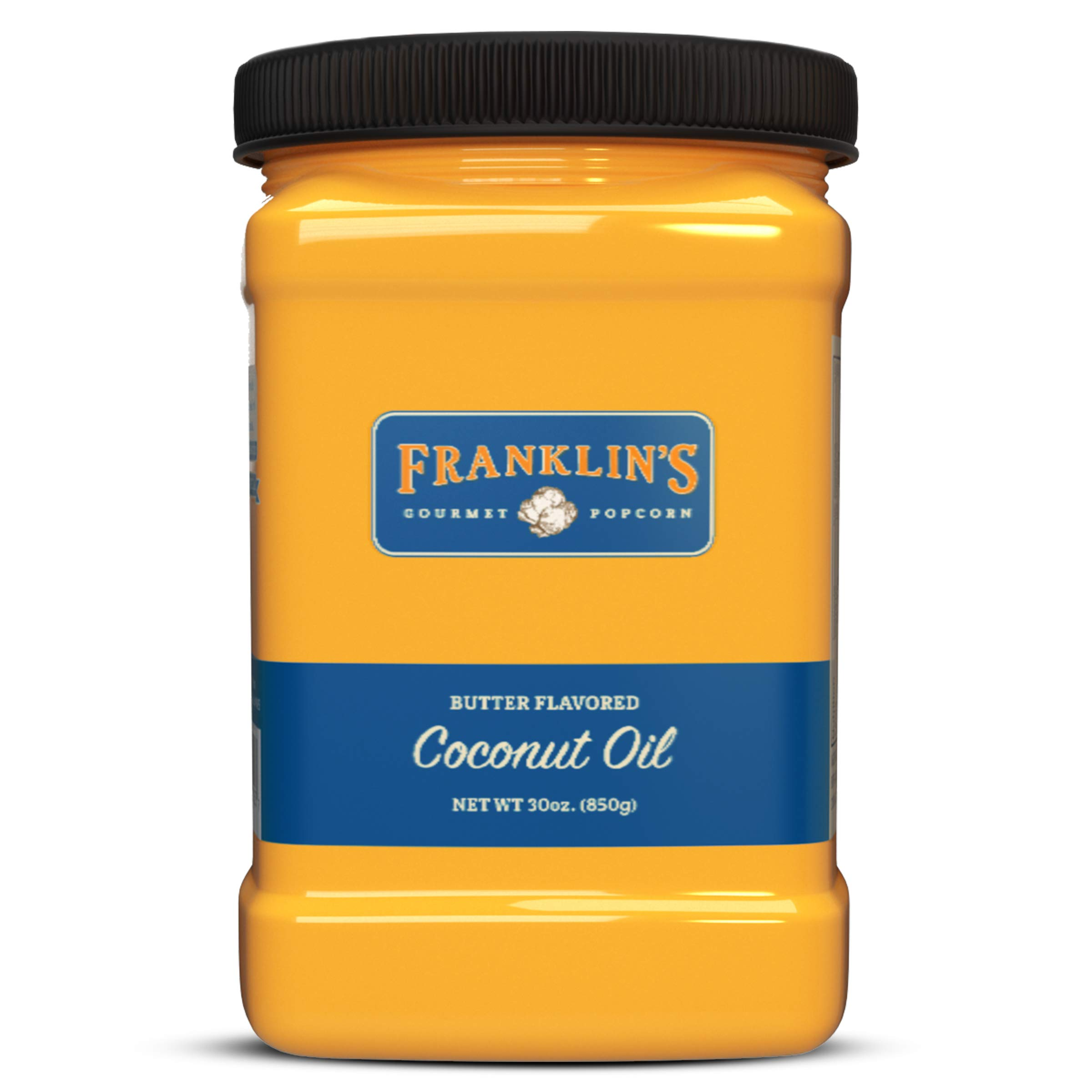 Franklin's Gourmet Popcorn Butter Flavored Coconut Oil - 30 oz. Tub - Top Rated, Delicious, Healthy, Zero Trans Fat - Gluten Free/Vegan & NO Junky Ingredients - Best Movie Theater Taste - Made in USA by Franklin's Gourmet Popcorn