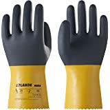 LANON PVC Coated Chemical Resistant Gloves, Reusable Heavy Duty Safety Work Gloves, Acid, Alkali and Oil Protection, Non-Slip