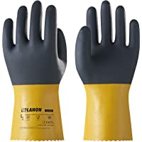 LANON Protection U100 Reusable PVC Work Gloves, Oil Resistant Heavy Duty Industrial Gloves, Chemical Resistant, Non-slip, Large, CE Certified, CAT III