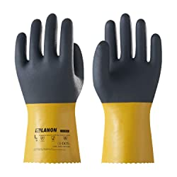 LANON Protection U100 Reusable PVC Work Gloves, Oil Resistant Heavy Duty Industrial Gloves, Chemical Resistant, Non-slip, Anti-aging, Large, CE Certified, CAT III