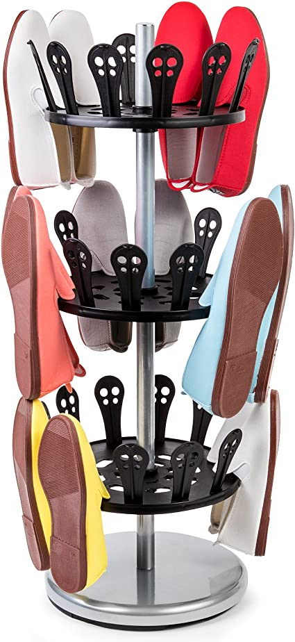 Tatkraft Roll Zapatero Giratorio de 3 Pisos | Organizador de Calzado de 3 Estantes Redondo | Estantería Zapatos de Acero y Plastico | Soporte Zapatos ...