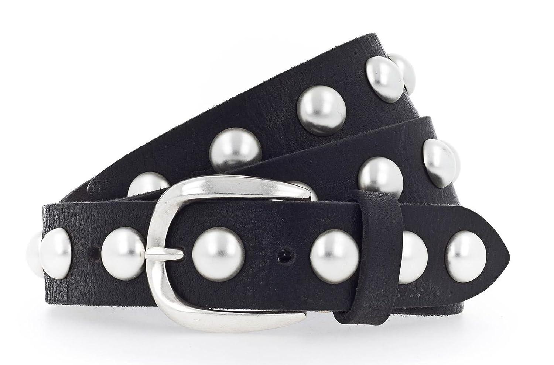ab7b9924006a0 B.Belt Damen Ledergürtel mit Perlen schimmernde Dornschließe  Amazon.de   Bekleidung