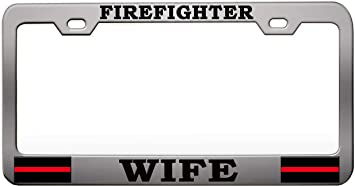 Fire Fighter Chrome License Plate Frame