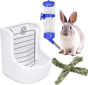 kathson Bunny Hay Feeder,Rabbit Water BottleCeramicLarge Hay Manger Holderfor Guinea Pig ChinchillaHedgehog Ferret