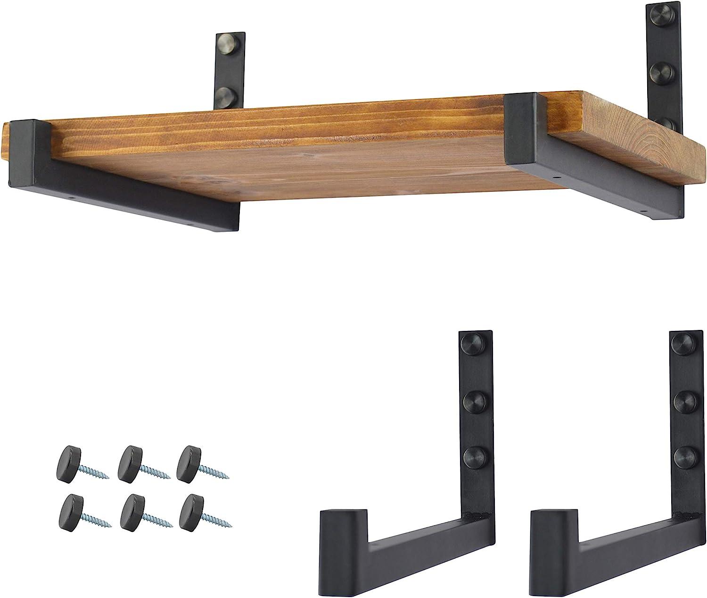 OVOV 2 Pack Metal Shelf Brackets Industrial Floating Shelf Brackets Wall Mounted Decorative (Black) 12