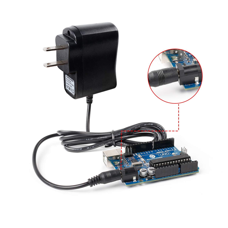 SunFounder DC 9V/650mA Power Plug Adapter for Arduino UNO, R3 Mega 2560/1280 (3 Feet)