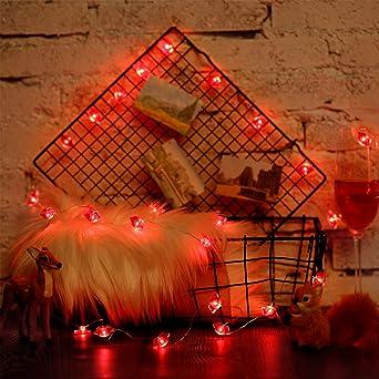 poly/éthyl/ène d/écoration de Rose f/ête int/érieure 6.6ft 20LED PE diam/ètre 6 cm Anniversaire f/ête Rouge Fantes Guirlande Lumineuse LED /à Piles pour Mariage ext/érieur