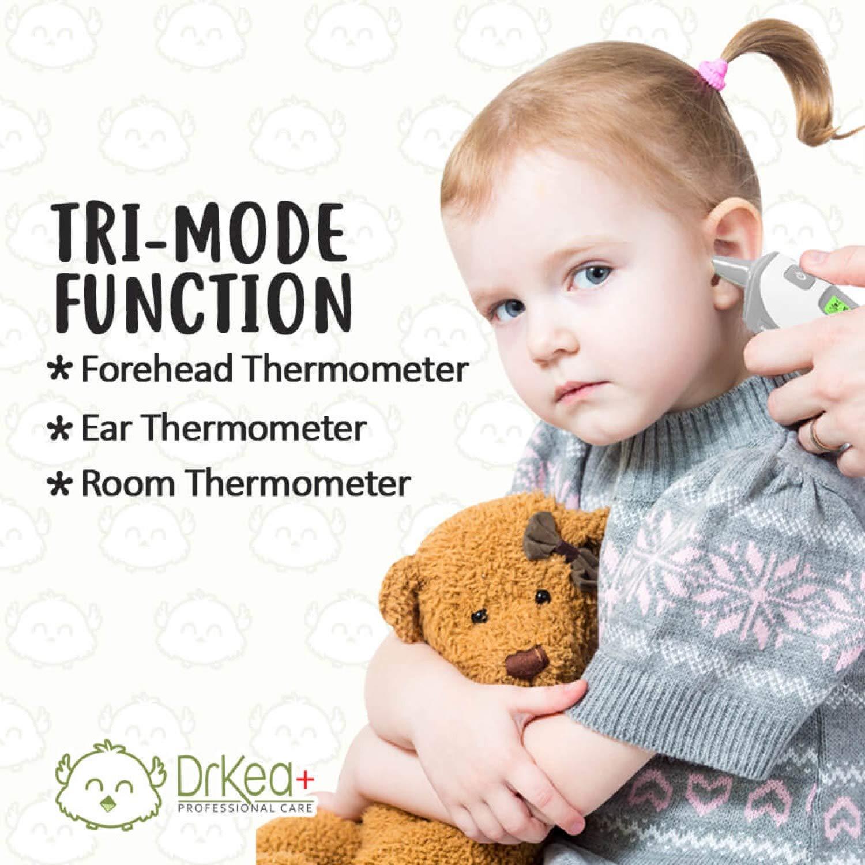 Termómetro para bebé - Termómetro para frente y oreja para fiebre por Drkea - Termómetro profesional de fiebre de doble modo para bebé, niños y adultos, ...