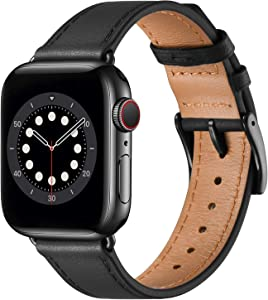 BesBand Compatible with Apple Watch Bands 44mm 42mm 40mm 38mm, Genuine Leather Business Replacement Bands Loop Men Women for iWatch SE & Series 6/5/4/3/2/1(Black/Black,38mm/40mm)