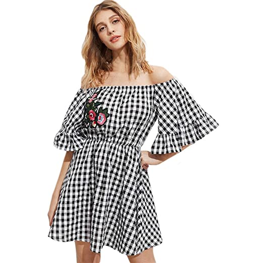 d771fabd561d Sinfu Women Casual Flower Embroidered Plaid Print Flare Sleeve Off Shoulder  Dress Mini Party Dress Summer
