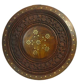 Joie De Vivre Wooden Table with Brass Inlay Craft 23 cm: Amazon.co ...