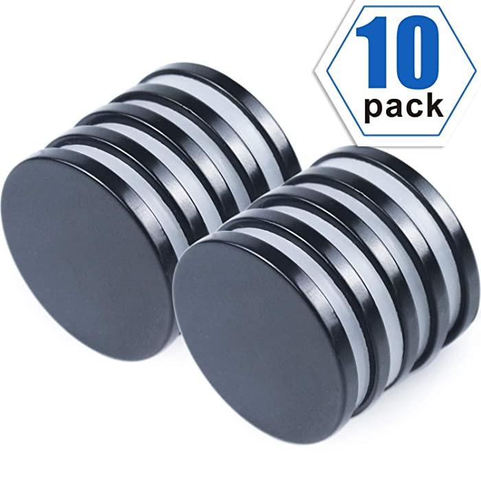 """Super Strong Neodymium Disc Magnets with Epoxy Coating, Powerful Permanent Rare Earth Magnets 1.26""""D x 1/8""""H, Pack of 10"""