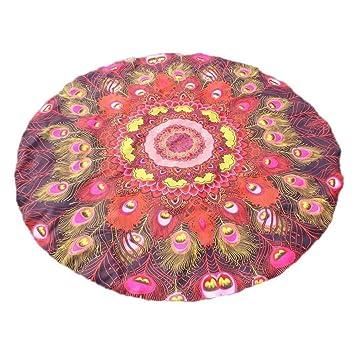 Manteles Impresión redonda Hippie Tapestry Beach Picnic Throw Yoga Mat Toalla de toalla Tapete de playa ...