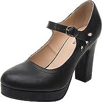 Luoika Women's Wide Width Heel Pump - Ankle Buckle Strap Heel Close Toe Stilleto Platform Mary-Jean Shoes.