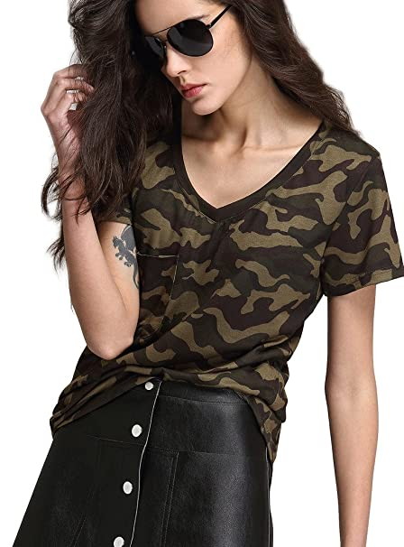 Escalier Mujer Camiseta Camuflaje Blusa Cuello En V Camisas de Manga Corta T-shirt Top
