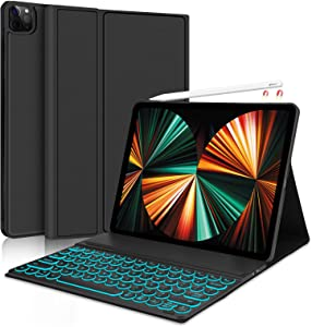 Keyboard Case for New iPad Pro 12.9 2021 5th Generation/2020 4th Gen/2018 3rd Gen - 7 Colors Backlit Detachable Keyboard Folio Smart Cover for iPad Pro 12.9 inch [Support Apple Pencil Charging] -Black