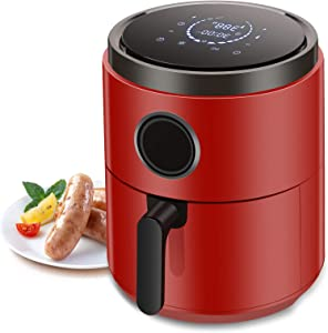 Kismile 1400-Watt Air Fryer Oven, 5.2 Quart Hot Air Fryer Oil less with Digital LCD Screen, Electric Air Fryer Oven for Healthy Cook (Red)