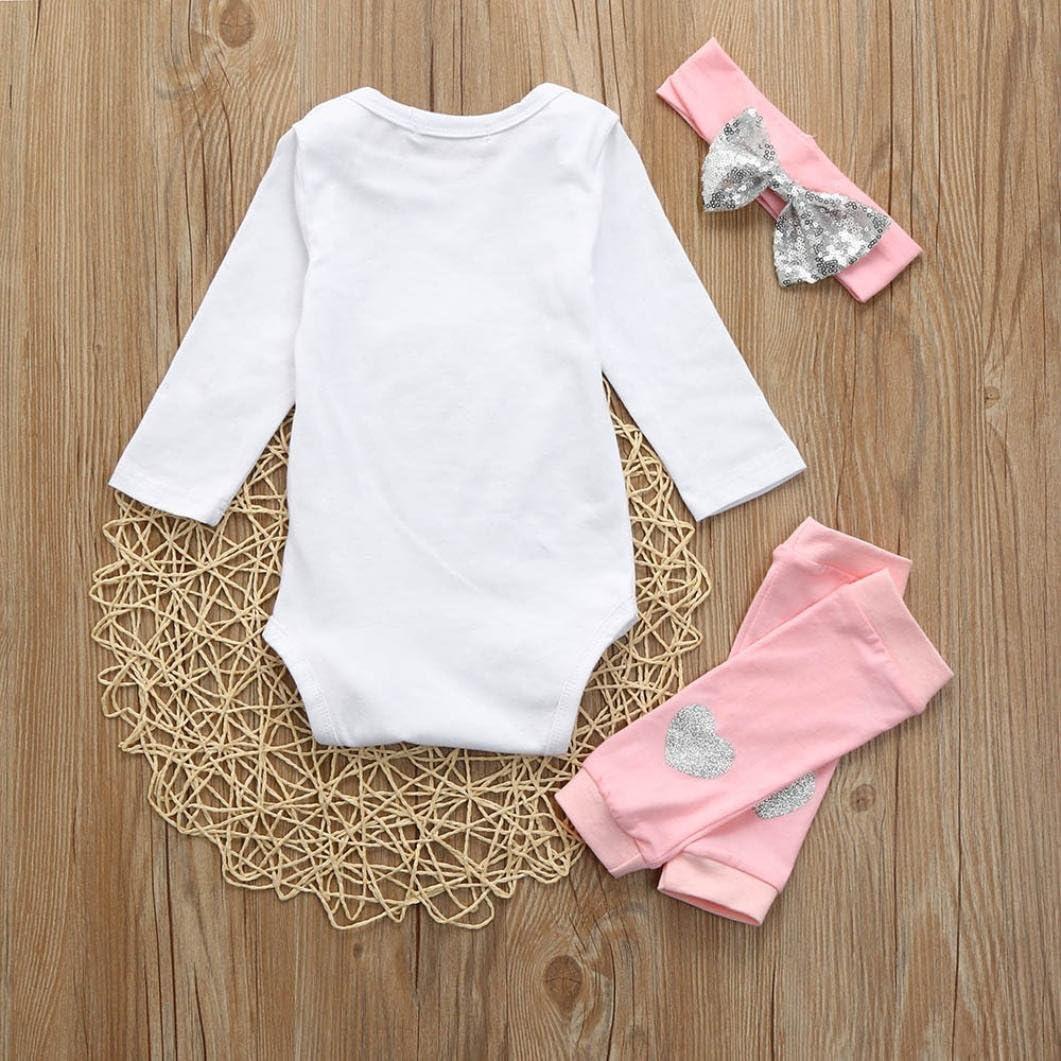 Headbands Outfit Set Leggings Newborn Baby Girl Letter Clothes Bodysuit Romper Jumpsuit Wanshop  Girls Clothing Sets