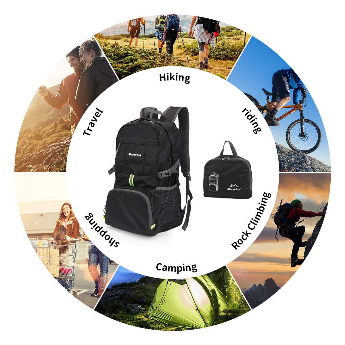 Morpilot Ultra Lightweight 35L Packable Backpack Water Resistant Travel Hiking Daypack Folding Camping Cycling Outdoor Handy Backpack