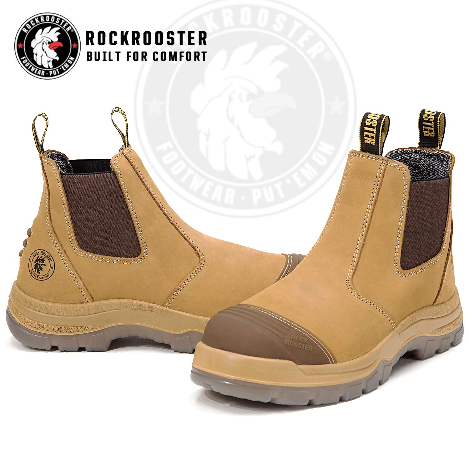 96a77227383 ROCKROOSTER Work Boots for Men, Steel Toe, Poron XRD, Coolmax, Antistatic,  Full Waxy Tumbled Leather Shoes, Non-Slip Safety Boot, EEE-Wide(AK227, ...
