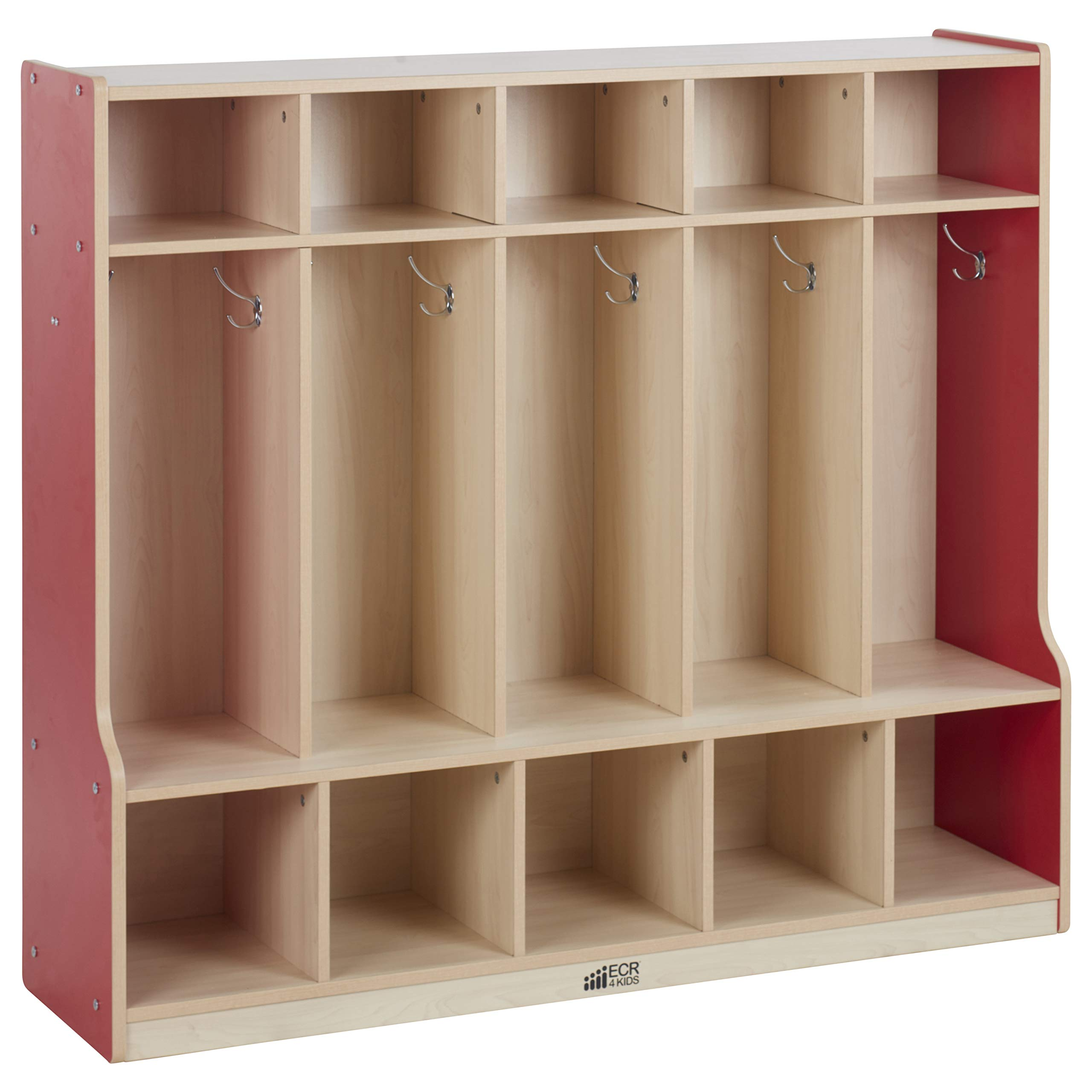 ECR4Kids Colorful Essentials 5-Section Coat Locker with Cubbies and Bench, Red