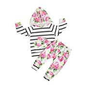 6c5ddf7297f JustVH Baby Girls Floral Striped Hoodie with Pocket+Floral Pant Set  Leggings 2pcs Outfit