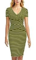 Mmondschein Women Short Sleeve Striped Wear to Work Business Pencil Dress
